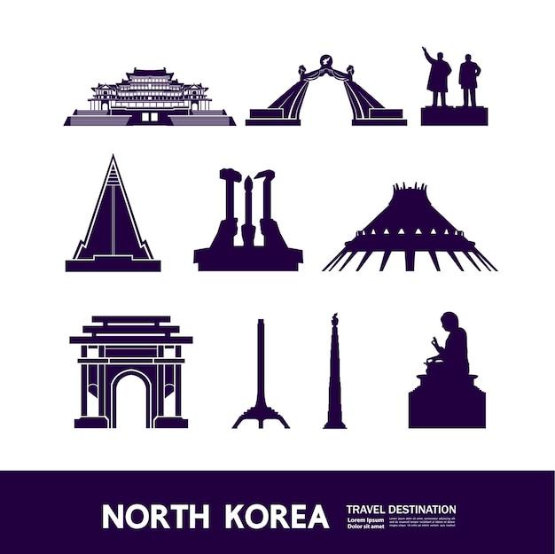 Illustrazione della destinazione di viaggio della corea del nord.
