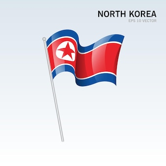 Bandiera della corea del nord sventolante isolata su gray