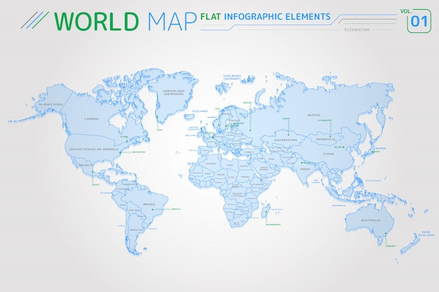 Mappe vettoriali di nord e sud america, asia, africa, europa, australia e oceania