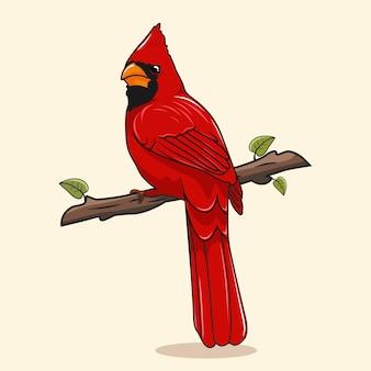 Cartone animato di illustrazioni di uccelli cardinali del nord