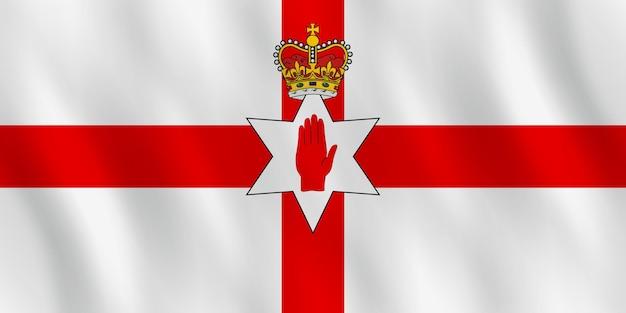 Bandiera dell'irlanda del nord con effetto ondeggiante, proporzione ufficiale.