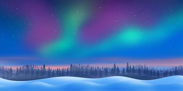 Paesaggio del nord al tramonto e con aurora boreale
