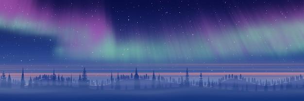 Paesaggio nordico con aurora boreale