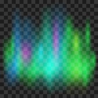 Aurora boreale isolata su sfondo trasparente