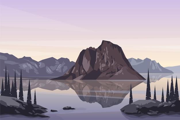 Paesaggio del lago di montagna settentrionale natura all'aperto scena escursionistica illustrazione di sfondo vettoriale