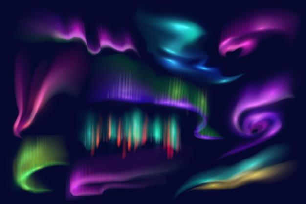 Luci polari settentrionali, aurora boreale bagliore, vettore fenomeni naturali artici isolati su sfondo blu. incredibile illuminazione ondulata incandescente iridescente sul cielo notturno. set di aurore brillanti 3d realistiche
