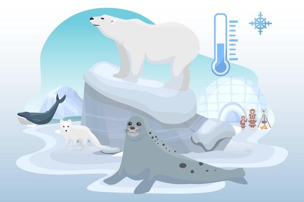 Polo nord luogo freddo animale selvatico orso foca oceanica volpe artica bestia alaska cittadino piatto vettore malato...
