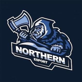 Modello di logo della mascotte di gioco di e-sport asce della holding del guerriero del nord
