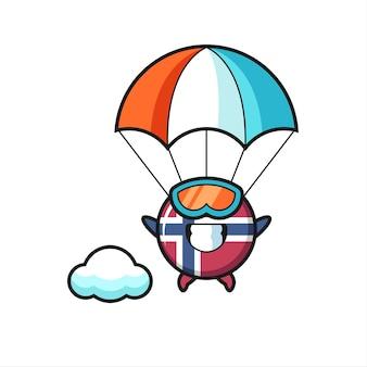 Il fumetto della mascotte del distintivo della bandiera della norvegia è paracadutismo con gesto felice, design in stile carino per maglietta, adesivo, elemento logo