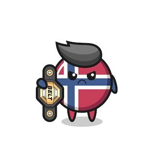 Carattere della mascotte del distintivo della bandiera norvegese come combattente mma con la cintura del campione, design in stile carino per maglietta, adesivo, elemento logo