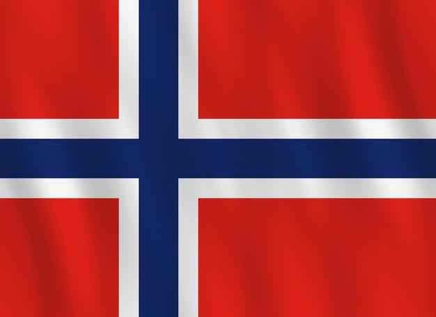 Bandiera della norvegia con effetto ondeggiante, proporzione ufficiale.