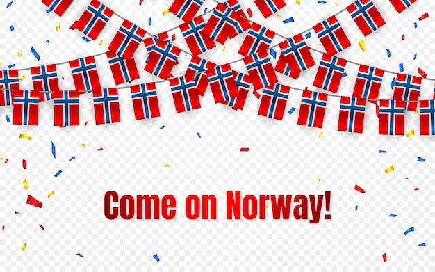 Bandiera della ghirlanda di norvegia con coriandoli su sfondo trasparente, stamina di appendere per banner modello di celebrazione,