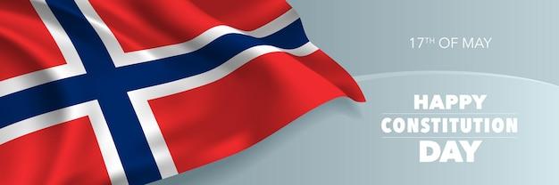 Bandiera di giorno della costituzione felice della norvegia, cartolina d'auguri.