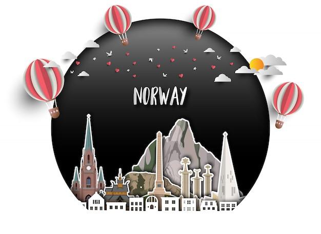 Fondo globale della carta di viaggio e di viaggio del punto di riferimento della norvegia.