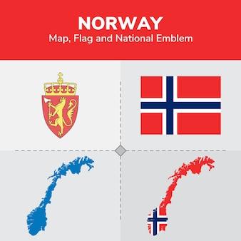 Mappa della norvegia, bandiera e emblema nazionale