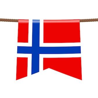 Le bandiere nazionali della norvegia sono appese alla corda. il simbolo del paese nel gagliardetto appeso alla corda. illustrazione vettoriale realistico.
