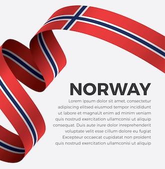Illustrazione vettoriale di bandiera del nastro della norvegia su uno sfondo bianco vettore premium