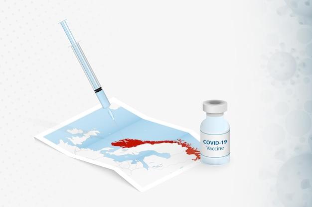 Iniezione di vaccinazione in norvegia con vaccino covid19 nella mappa della norvegia