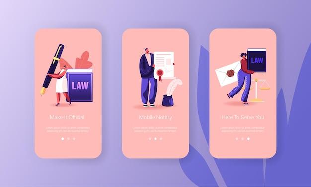 Modello di schermata della pagina dell'app mobile di servizio professionale di notaio.
