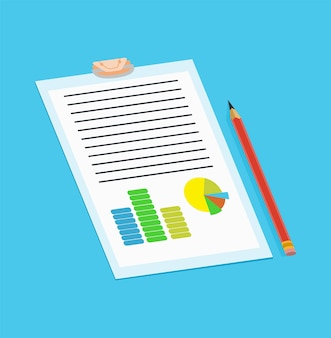 Annuncio di servizio notarile. documento cartaceo legale o isolato su sfondo blu. illustrazione vettoriale a colori in stile piatto.