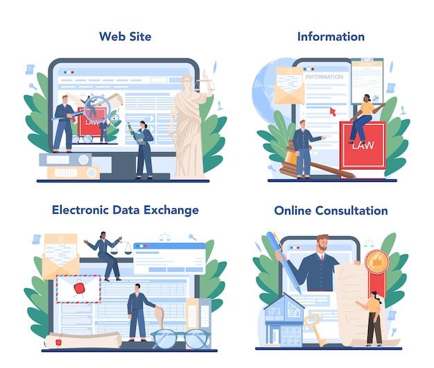 Servizio online di servizio notarile o set di piattaforme. avvocato professionista che firma e legalizza documento cartaceo. consultazione online, scambio elettronico di dati, informazioni, sito web.