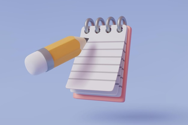 Taccuino e matita icona 3d isolata su blu, promemoria o lista di controllo e concetto di istruzione, eps10 vector