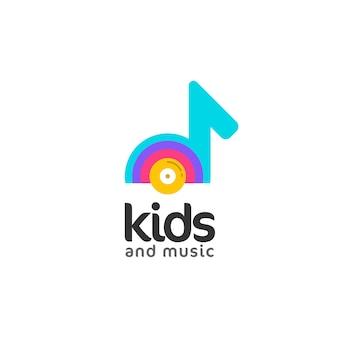 Nota le illustrazioni musicali kids logo concept