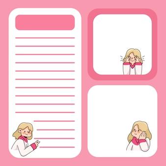 Appunti ragazza carina progetta di nuovo a scuola per elencare le note quotidiane
