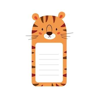 Testa di tigre decorata con carta per appunti. simpatico modello di foglio animale per diario, orario, promemoria. casella con spazio per il testo. illustrazioni vettoriali isolate su sfondo bianco.