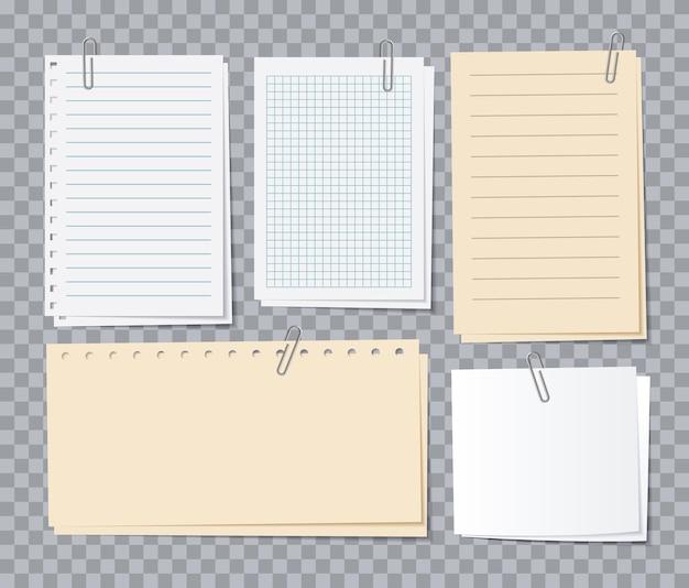 Nota fogli di carta. carta da lettere diversa con graffette, adesivi memo. blocco note per avviso, elenco di appuntamenti del set vettoriale di notebook. taccuino di appunti dell'illustrazione, elenco del blocco note e carta da lettere