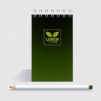 Notebook, modello di identità aziendale su bianco