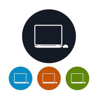 Icona del taccuino, icona del computer portatile, i quattro tipi di icone rotonde colorate, illustrazione vettoriale
