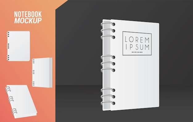 Icona di notebook mockup colore bianco.