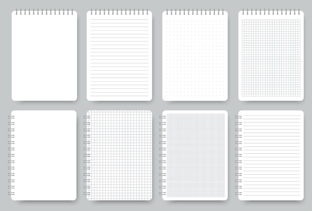 Set di pagine per notebook, blocco note a righe e carta a pois. taccuini a spirale realistici in bianco isolati