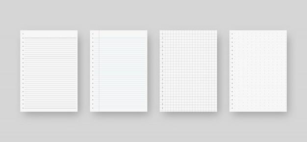 Set di carta per notebook. modello di foglio di carta a righe. isolato. progettazione del modello. illustrazione realistica.