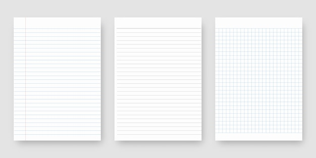 Set di carta per notebook. foglio di carta a righe