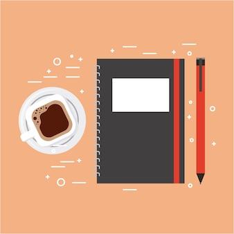 Spirale di notebook e matita illustrazione vettoriale tazza di caffè