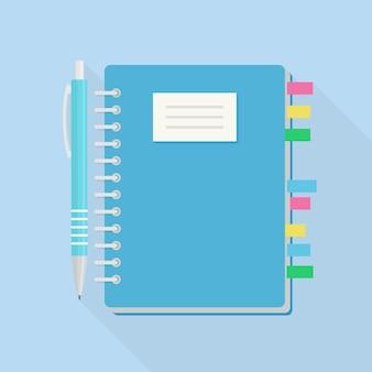 Taccuino con segnalibro e penna. carta del blocco note. promemoria, nota. pianificatore di affari. diario. rivista