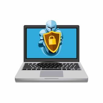 Taccuino con guardia scudo da cavaliere. software di sicurezza internet per computer dal concetto di simbolo di malware in cartone animato