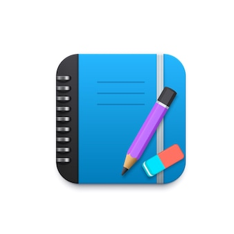 Taccuino con matita e gomma elemento di design 3d per applicazione mobile
