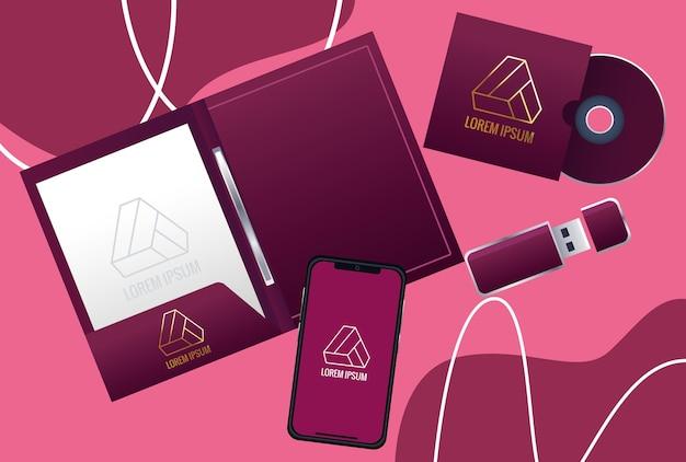 Notebook con elementi impostati branding illustrazione