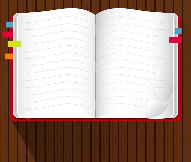 Blocco note e fogli di carta isolati