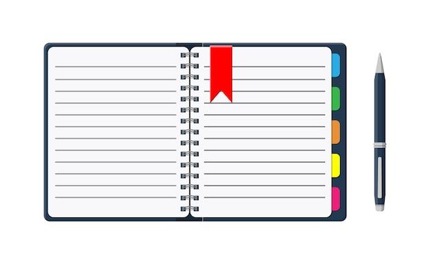 Blocco note e fogli di carta con segnalibri e penna. calendario per i record. taccuino del diario aperto e chiuso. scuola, affari, modello di istruzione. stazionario. forniture per ufficio.