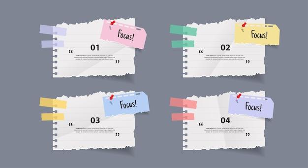 Set di banner adesivi di carta da lettere