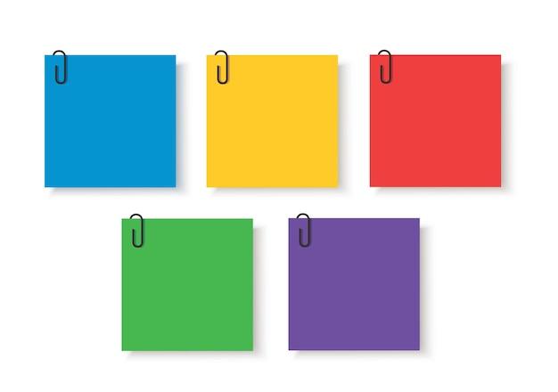 Note colorate carte adesive con clip pin memo vector