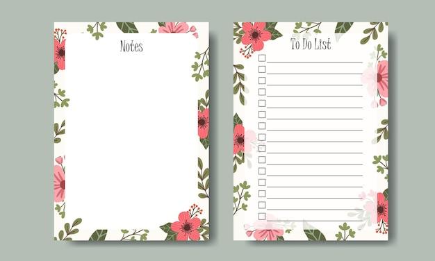 Modello di elenco di note e cose da fare con sfondo floreale rosa disegnato a mano dell'illustrazione del mazzo stampabile