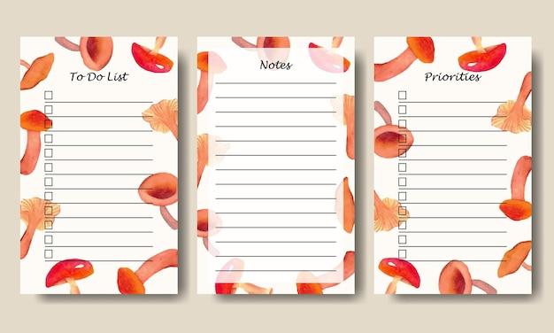 Note e modello di elenco delle cose da fare con sfondo di elementi di funghi acquerello dipinto a mano