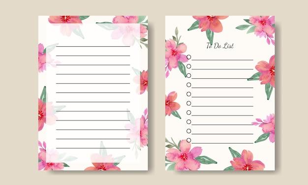Elenco delle note da fare modello di bouquet rosa con fiori ad acquerello stampabile