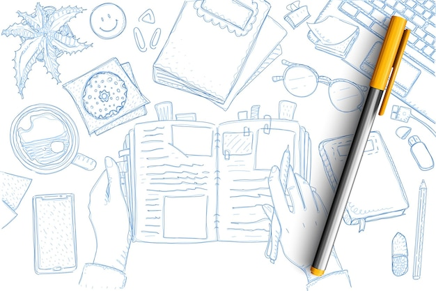 Note di doodle del viaggiatore insieme. raccolta di mani turistiche disegnate a mano con notebook e ricordi, mappe, stelle marine, smartphone, matita, laptop e simboli di vacanza isolati