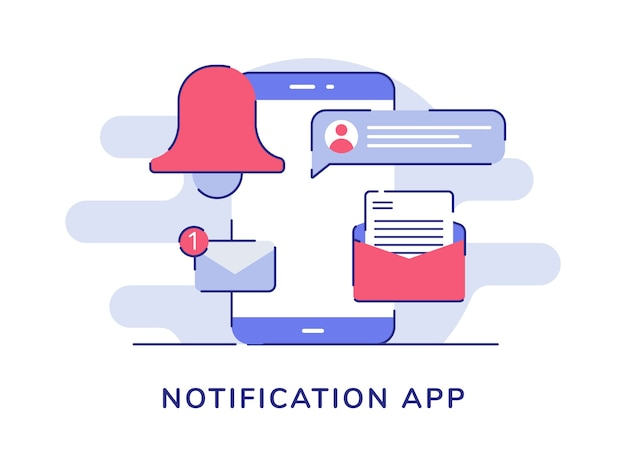 Notifica app messaggio di posta elettronica campana sullo schermo dello smartphone display bianco sullo sfondo isolato